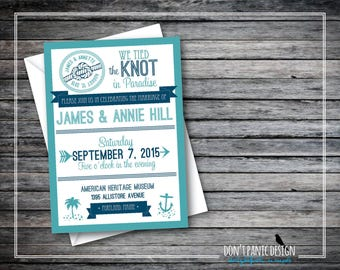 Printable Wedding Announcement Invitation - Nautical Wedding Reception Invitation - Wedding Announcement Turquoise & Navy - Custom Colors