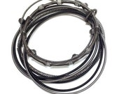 Gorgeous mixed texture Piano Wire Bracelet in Black & Slate
