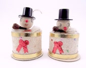 1950s Cardboard Snowmen Christmas Decorations Spun cotton Heads Retro Kitsch Christmas Ornaments