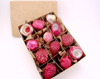 Vintage German Glass Christmas Ornaments Fancy Molded Shapes Christmas Decorations Pink Red Boxed