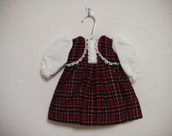 "Red checked CorduaryDoll Dress Fits Most 18"" Dolls"