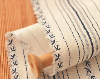 Blue Striped Cotton Blend Fabric Sold by Half Meter MJ633