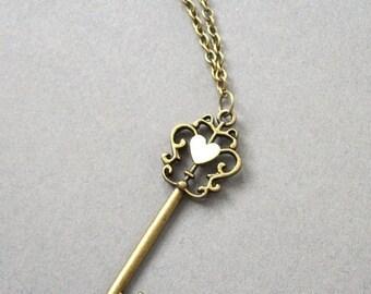 SPRING SALE Large Vintage Style Key and Heart Necklace Short Necklace Antique Bronze Toned Key Minimalist Vintage Style Necklace Antique Bro