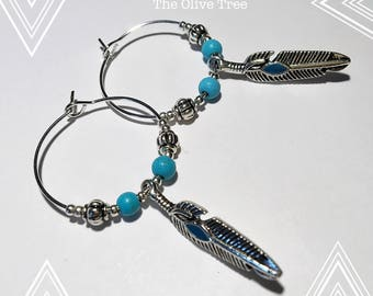 Bohemian feather hoop earrings with Turquoise ...Unique design!!!