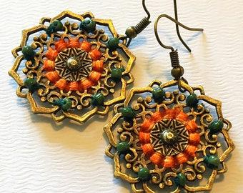 Summer Sunset  Mandalas  Bohemian Dangle Earrings - Boho Earrings - Zen Earrings - Hippie Earrings - Gypsy Earrings - Meditation