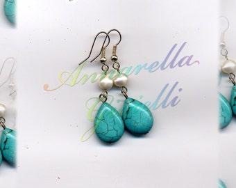 Orecchini #E154 verde, tiffany, pietre di fiume, gocce, earrings, regalo moda elegante, perline, bigiotteria, handmade, fatto a mano
