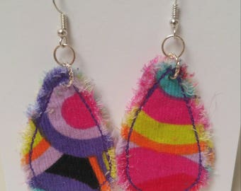 Funky Colorful Fabric Earrings