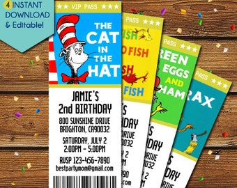 Dr Seuss Invitations, Dr Seuss Birthday Invitation, Dr Seuss Baby Shower Invitations, Dr Seuss Party Invite, Dr Seuss Invite, Cat in the Hat