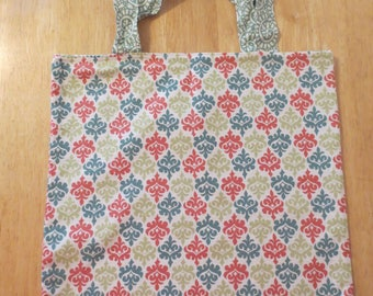 Cotton Grocery Tote, Salmon, Teal and Mustard