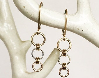 ON SALE Hammered Mix Metal Tiny Sterling Rose & Yellow Gold Filled Hoops - Everyday Earrings
