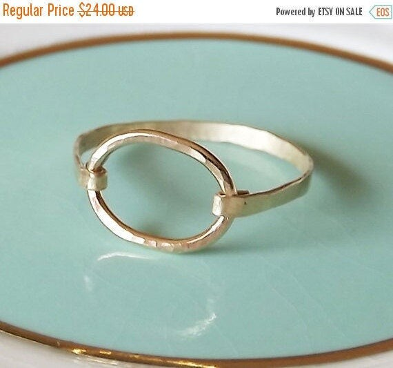ON SALE Hammered Oval Gold Filled Ring - Stacking Rings - Gold Ring - Gold Band - Oval Ring