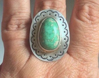Variscite stamped silver ring