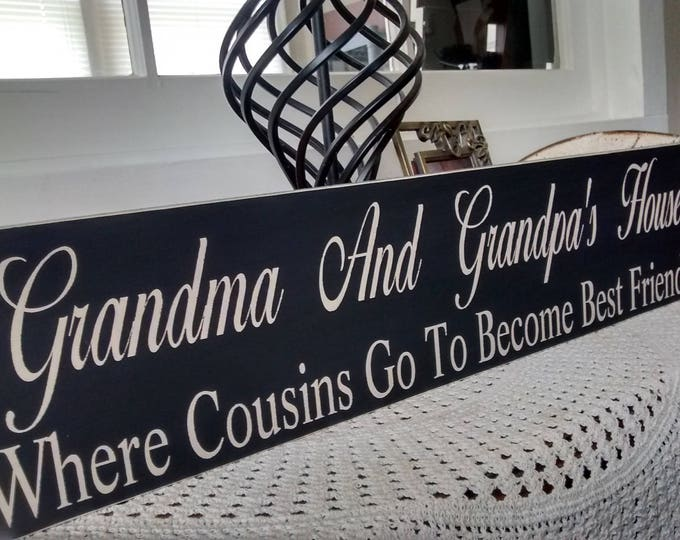 Mom Gift, Daughter gift For Mother, Primitive CUSTOM Sign,  Nana And Papa's House, No Parents, No Bed Time, No Rules, wood wall art, Reveal