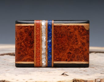 Exotic Wood, Coral, Mother of Pearl and Lapis Inlaid Belt Buckle - Handmade