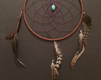 Large Brown and Purple Dreamcatcher with turquoise and feathers, 9 inch dream catcher, simple dreamcatcher, purple dreamcatcher, great gift!