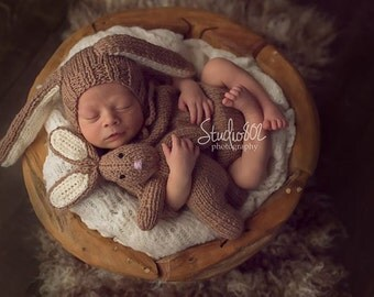 Baby Bunny Hat Boy Girl Hat Newborn Girl Rabbit Hat Newborn Hat and Lovies Set Knit Baby Hat and Bunny set, Choose more colors