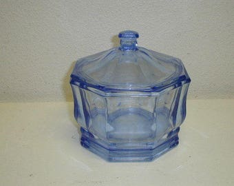 Vintage ice blue octagonal glass candy dish with lid like new condition unbranded