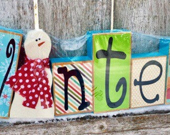 Wood Snowman | Wood Letter Blocks | Wooden Snowman | Wooden Letter Blocks | Winter Wood Letter Blocks & Vinyl Lettering | Primitive Snowman