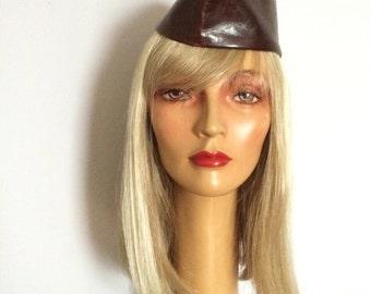Leather Garrison Flight Cap / Vintage Leather Service Cap / Brown Leather Wedge Cap