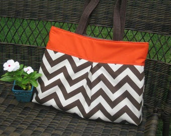Pleated Handbag in Orange and Brown and Cream Chevron