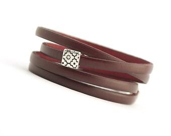 Marsala Genuine Leather Women Bracelet, Burgundy Modern Leather Bracelet, Women Jewelry, Leather Cuff for Women, Christmas gift,  boho chic