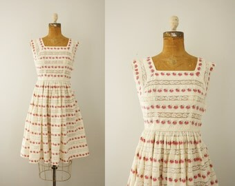 1950s dress | vintage 50s cotton floral day dress