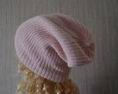 Pure Cashmere Light  Pink Ribbed Hand Knit Soft Warm Beanie Hat MADE BY ORDER