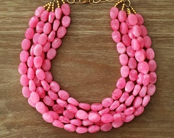 Statement Necklace Bridesmaid Jewelry JACKIE O PINK NECKLACE  Wedding Jewelry Statement Jewlery Pink Necklace