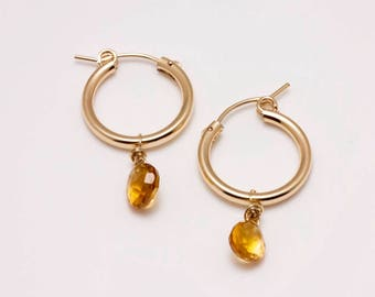 14K Gold-filled Hoops with Faceted Citrine Drops - Self-locking Closures