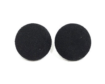 Black Faux Suede Earrings - Black  Faux Leather Covered Button  Earrings - 4 sizes .
