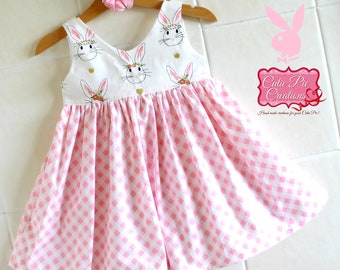 Pink Bunny Dress - girls dress, Bunny dress, girls dress, toddler dress, birthday dress, party dress, pink girls dress, little girls dress