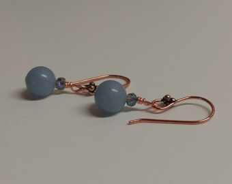 Blue angelite and czech glass and copper earrings