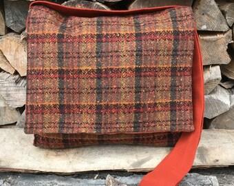 Viking Haversack~  Brown Plaid Messenger Bag ~Viking Bag~Historical Reenactment Shoulder Bag~Messenger Bag~ Celtic Bag~ Wool Plaid Bag