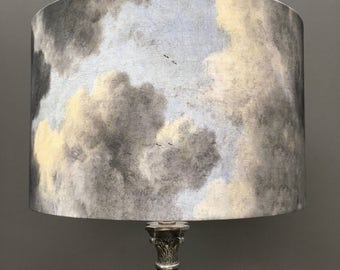 Cloud lampshade - cloudy skies drum lampshade - Kettle of Fish Designs
