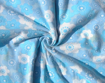 Vintage Single Duvet Cover, Mid Century Floral Cotton Duvet Cover, Blue and Purple Flowers Twin Duvet Cover, 1970s Floral Bedding