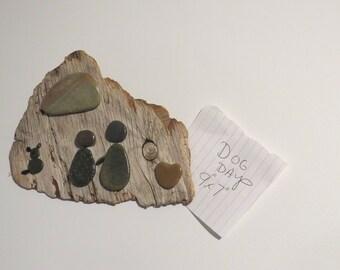 """Stone Art on Driftwood.  """"Dog Days"""""""