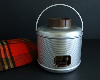 Vintage Featherlite Picnic Jug Aluminum With Woodgrain Trim Retro Camping Insulated Beverage Canteen by Poloron