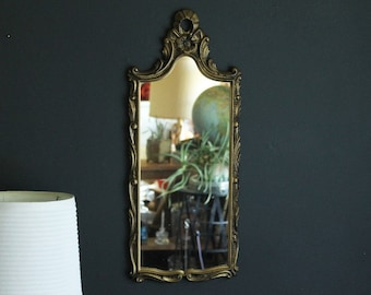 Vintage Ornate Wall Mirror Mid Century Rectangle Hollywood Regency Decorative Floral Accents