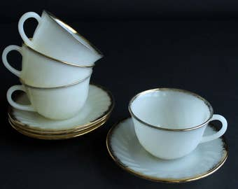 Vintage Fire King Coffee Cup and Saucer Set Of 4 Oven Ware Tea Cups and Saucers