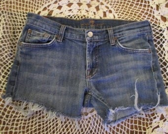 Cutoff JEAN Shorts 7 For All Mankind W 30 MEASURED Hot Pants denim cut offs size 30 Free Shipping USA