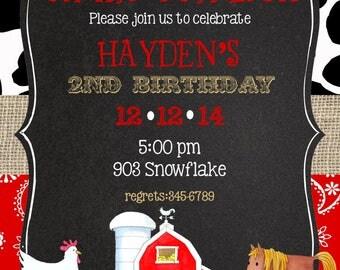 Farm Barnyard Birthday Party  invitations -Digital or printable file- DIY- ANY COLORS
