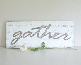 gather metal word on wood back, wall decor, other words & colours available