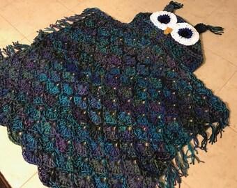 Owl Hooded Blanket, Crocheted Owl Blanket, Crocheted Owl Afghan, Crocheted Hooded Owl, Crochet Owl