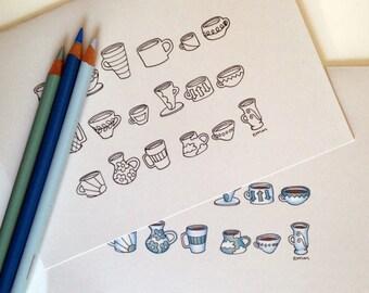 Coffee Mugs Coloring Card, 5x7