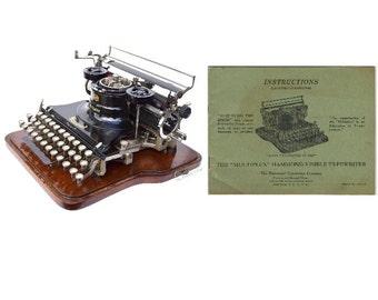 Hammond Multiplex 2nd Model Typewriter Instruction Manual Ideal & Straight  Instant Download