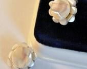 ON SALE Vintage Mother of Pearl Flower Earrings Japan - Enchanting