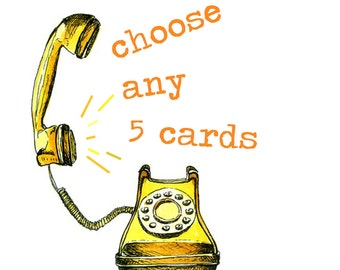 Choose any 5 greeting cards. Funny valentines card greetings cards birthday cards. Special offer