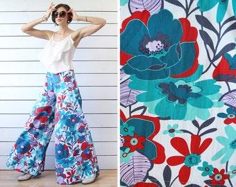 Flower power vintage blue green red floral print super wide leg high waist palazzo culottes pants M-L