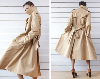 AQUADANE vintage classic khaki beige double breasted spring mid season belted trench coat S M