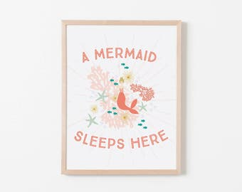 A Mermaid Sleeps Here Nursery Art // Coral Reef Blonde. Nursery Wall Art. Nursery Prints. Nursery Decor. Mermaid Wall Art. Mermaid Nursery.